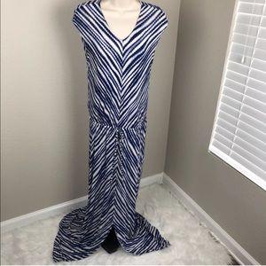 Chico's maxi gown dress size 0 blue white stripe